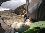 réveil au soleil sur une falaise à Péniche